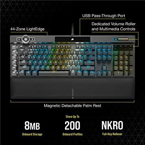 Corsair K100 RGB Optical-Mechanical Gaming Keyboard - Corsair OPX RGB Optical-Mechanical Keyswitches - AXON Hyper-Processing Technology for 4X Faster Throughput - 44-Zone RGB LightEdge
