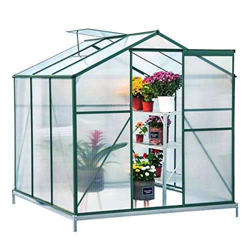Mellcom 6'(L) x 6'(W) x 6.6'(H) Polycarbonate Portable Walk-in Garden Greenhouse Large Hot House with Adjustable Roof Vent and Rain Gutters,UV Protection Planting House