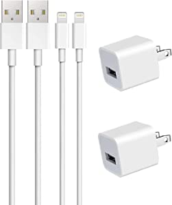 iPhone Charger, 2Pack Apple MFi Certified Lightning Cable Data Sync Charging Cords with USB Wall Charger Travel Plug Compatible iPhone 12/11/XS/XR/X/8/7/6s/6/6Plus/SE, iPad Mini Air Pro, iPod, AirPods