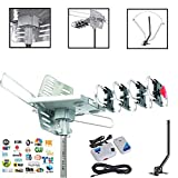 Cables Direct Online, 2019 Model - Outdoor 150 Mile 4K Motorized TV Antenna with Roof Tripod Mount Pole 360 Degree Rotation OTA Amplified HD, Support - UHF VHF 1080P Channels