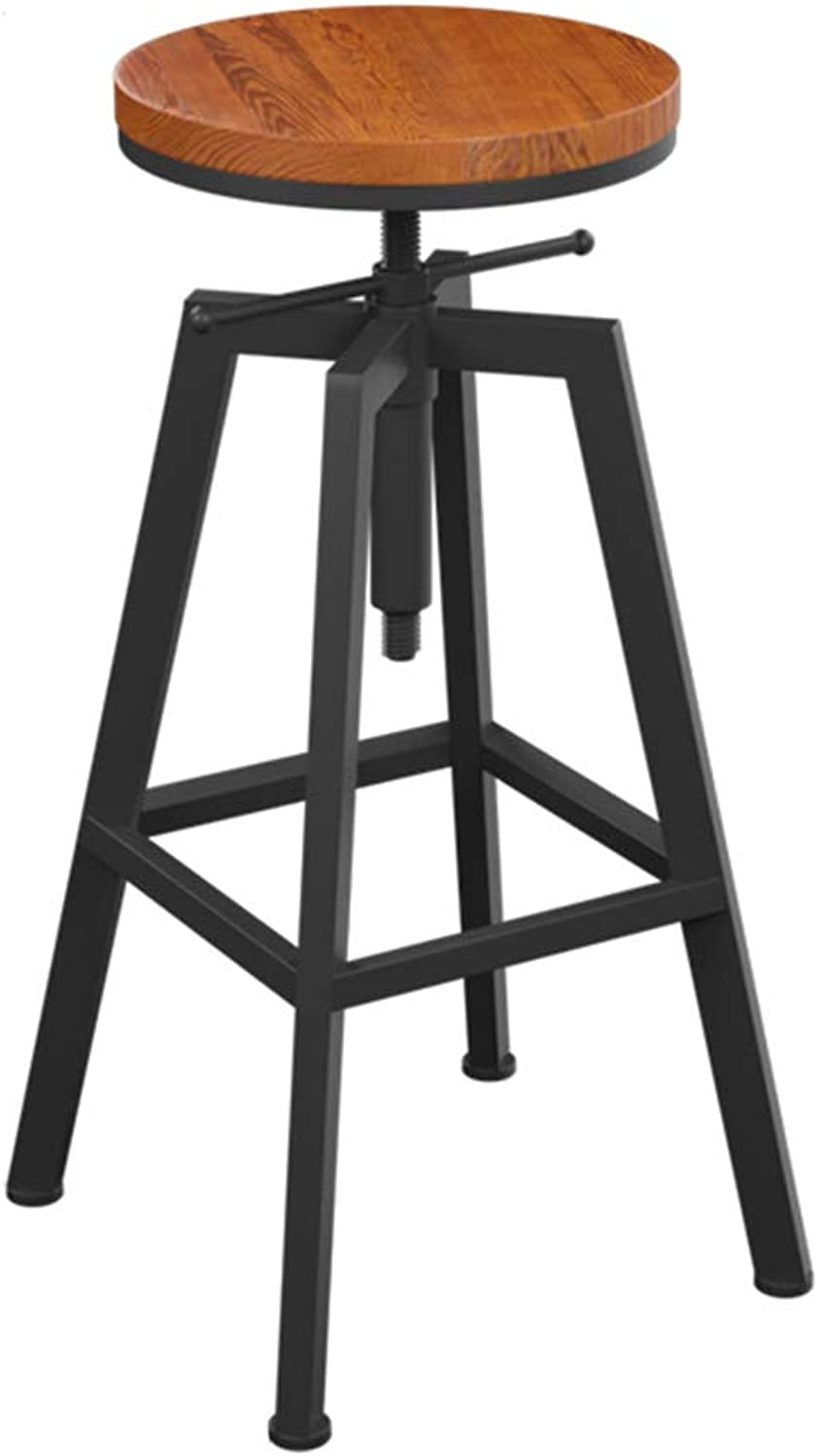 Bar Chair Retro Industrial Back Breakfast Kitchen Chair Stool Round Solid Wood + Iron Material Adjustable 65-85CM (Size   No backrest)