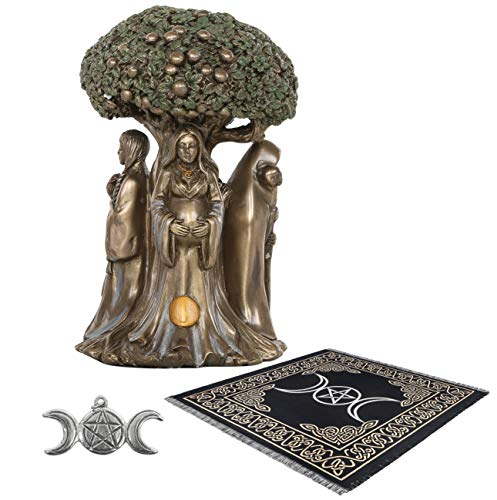 Sarimoire Altar Tarot Cloth Goddess Statue Tree of Life 5.5 in Cold Cast Bronze Statue Wicca Supplies Triple Moon Pentagram Pentacle Pendant Altar Supplies Kit