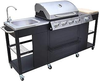 VidaXL 40426 Barbecue grill gazowy 2900 W, czarny, stal nierdzewna, grill i grill