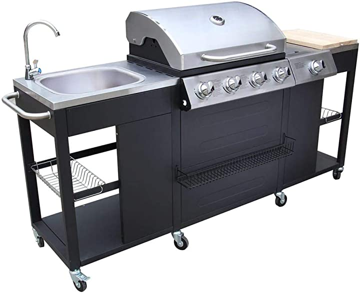 Barbecue esterno cucina a gas completa acciaio 4 bruciatori con ruote vidaxl 40425