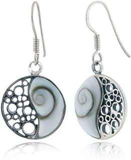 925 Sterling Silver Natural Inlay Yin Yang Dangle Hook Earrings