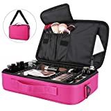 Luxspire Makeup Cosmetic Storage Bag, Portable Waterproof Double Layer Make up Case Cosmetic Pouch Travel Storage Box Toiletry Organizer Tool with Shoulder Straps - Magenta