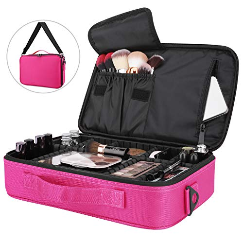 "Luxspire Makeup Cosmetic Storage Bag, Portable Waterproof Double Layer Make up Case Cosmetic Pouch Travel Storage Box Toiletry Organizer Tool with Shoulder Straps, 13.58"" x 9.65"" - Magenta"