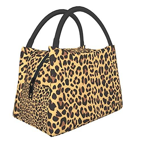 Teery-YY Bolsa de almuerzo con estampado de leopardo, portátil, a prueba de fugas, para mujeres, hombres, niños, niñas, resistente al agua, para oficina, escuela, trabajo, picnic, viajes