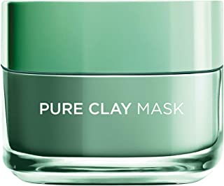 L'Oreal Paris Pure Clay Green Face Mask with Eucalyptus, Purifies and Mattifies, 50 ML