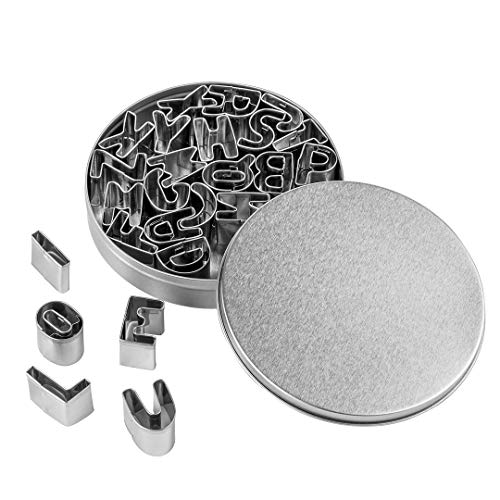 Beyond 280 Mini Tiny Stainless Steel Cookie Cutters, A-Z 26-piece Alphabet Shapes for One-Bite Cookies, Cake Decor, Fondant Biscuit
