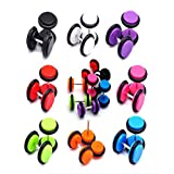 HongWangDZSW 8pair 16PCS Acrylic Barbell Stud Earrings Fake Gauges Kit Faux Plugs Earrings (16Pcs Earrings)