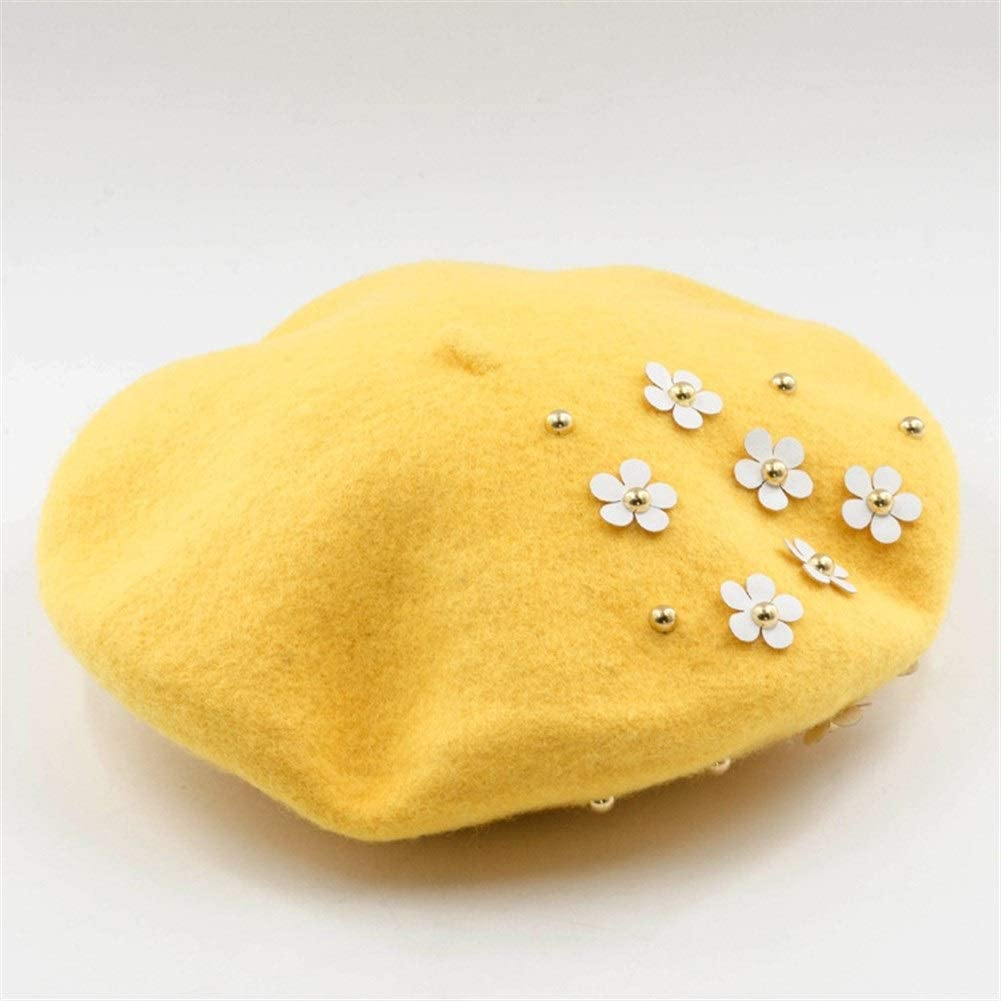 WXQ-XQ Autumn and Winter Fashion Casual Small Petal Rivets Decorated Woolen Beret Painter Hat (Color : Yellow, Size : M)