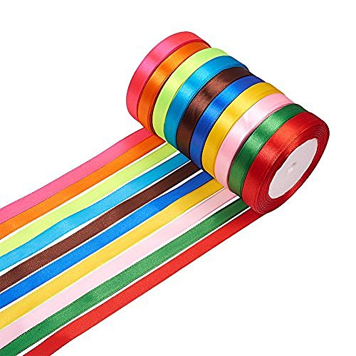 Fashewelry 1/2 Inch Fabric Ribbon Silk Satin Ribbon Roll 10 Solid Colors for Gift Wrapping Party Wedding Home Decor Hair Bows Making Total 250 Yards