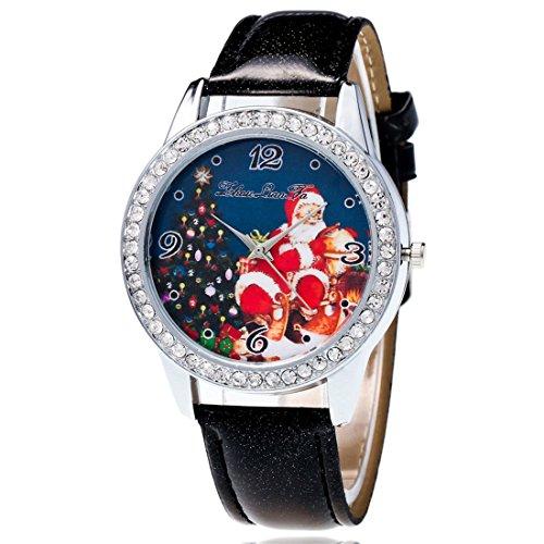 Souarts donna cuoio artificiale Natale padre Santa Claus Tree quarzo analogico da polso 22cm