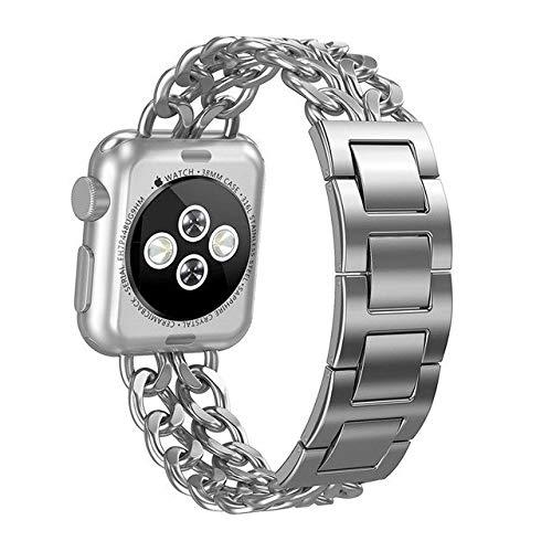 YEDDA Fashion Party - Correa de repuesto para reloj Apple de 38/42 mm para mujer, acero inoxidable, correa inteligente desmontable (color: plata, tamaño: 42 mm)
