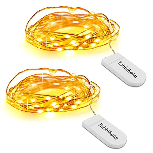 Tobbiheim イルミネーションライト 2m 20 LED フェアリーライト 銅線ワイヤー電池式ストリングライト クリスマス/ウエディング/パーティー 2点セット ウォームホワイト