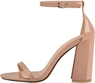 Women's Ankle Strap Heeled Sandals Square High Heels