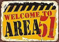 2個 Vintage Rusty Metal Sign Welcome Area 51バー、レストラン、カフェパブの壁の装飾12 'X 8' in メタルプレート レトロ アメリカン ブリキ 看板
