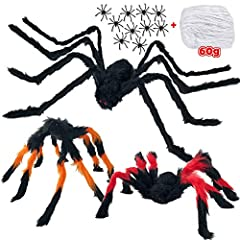 🍬 FOUR DIFFERENT SIZES SPIDERS SET FOR HALLOWEEN DECORATION: You will get 1 x Black Spider (125cm/50inch), 1 x Black Yellow Spider (60cm/24inch), 1 x Black Red Spider (60cm/24inch), 10 x Little Spiders, and 2 oz Spider Silk (60g). Super Value Set for...
