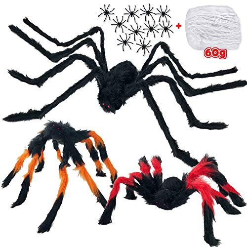 Halloween Spider Decorations, Halloween Scary Giant Spider Realistic Fake Hairy Spider Props & Spider Silk & 10 Small…