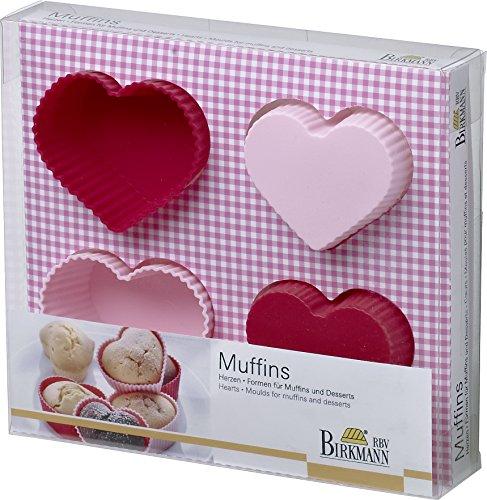 Birkmann 251359 Muffin- und Dessert- Set Herzen, Ø 7cm, 4 Stück