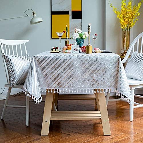 Mantel de rayas plateadas rectangular, mantel de comedor de poliéster y algodón, cubierta de mesa lavable con borlas minimalistas nórdicas, ideal para manteles de comedor de cocina, decoraci