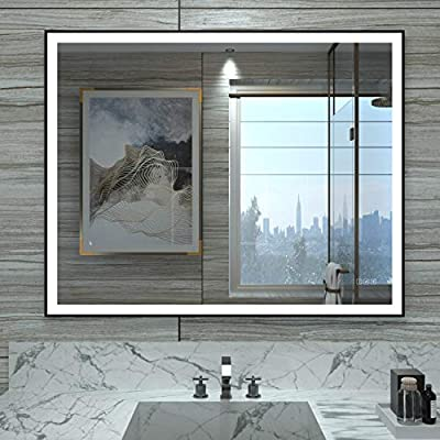 HAUSCHEN LED Lighted Bathroom Mirror Memory Touch Sensor + Dimmer + Defogger + Support Wall Switch Control (Helios)