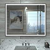 HAUSCHEN 32 x 24 inch LED Lighted Bathroom Wall Mounted Mirror with 5500K High Lumen + CRI...