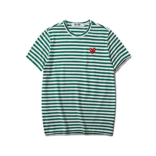 MICH Hey PLAYT Men's and Women's Couple Short Sleeve Love Round Neck Striped Cotton T-Shirt Green