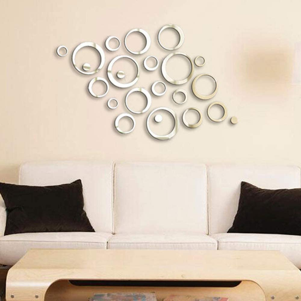 Hexagon Mirror FUNCSDIK Hexagon Mirror Wall Sticker 12 Pieces Acrylic Mirror Three-Dimensional Wall Stickers for Living Room Entrance Hallway Stairs Personalized Decorative Mirror Stickers