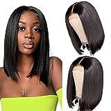Bob Wig Human Hair 4×4 Blunt Cut Bob Wig Human Hair Lace Front Closure Bob Wig Brazilian Short Bob Wig for Black Women 150% Density Natural Color(10inch)