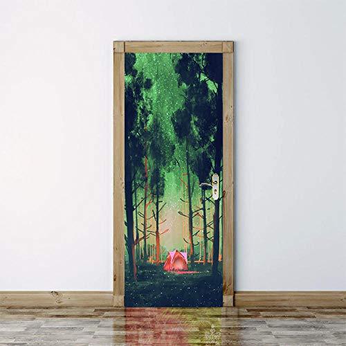 geen merk 3D Deur muurschildering Sterren Tent Deur Stickers Voor Woonkamer Slaapkamer Pvc Lijm Behang Home Decor Waterdichte muurschildering Decal.77X200Cm