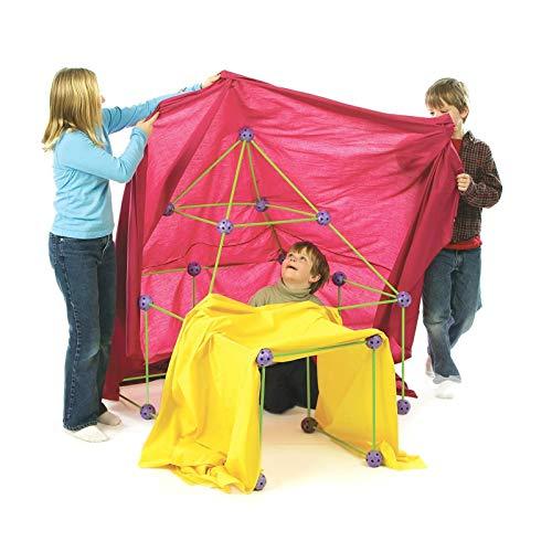 Crazyfly Kinderhütte Bauset für Kinder Jungen Mädchen, Bauset mit Stange, Gliederkugeln und Zelt neu