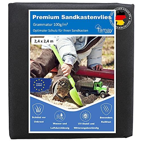 Sandkastenvlies - Premium Sandkastenunterlage 100g /m2 Unkrautvlies für den Sandkasten Besonders Atmungsaktives & Reißfestes Garten Vlies I Sandkastenfolie Bodenvlies für Sand, Kies (2,4 x 2,4m)