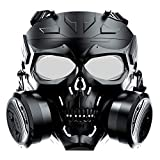 VILONG M10 Airsoft Tactical Protective Mask, Toxic Gas Mask Safety Eye Protection Skull Dummy Game Mask with Dual Filter Fans Adjustable Strap for BB Gun CS Cosplay (Black)