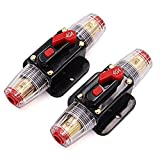 2 Piece 40A 40 Amp Circuit Breaker with Manual Reset Fuse Holder for Car Audio Marine Boat Stereo Switch Inverter Replace Fuses