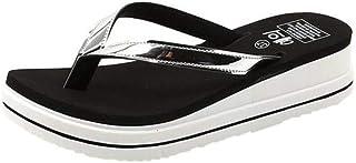 LJLLINGA Women'S Fashion Outdoor Mid-Heels Slippers Wild Solid Color Beach Flip Flops Summer Flat Round Toe Slipper Shoe Outside