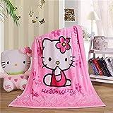 YIMU Kuscheldecke mit Cartoon-Motiv Hello Kitty-Aufdruck, weicher Überzug, Flanell, kuschelige Plüsch-Fleece-Decke für Jungen & Mädchen Kinder (Hello Kitty 1)