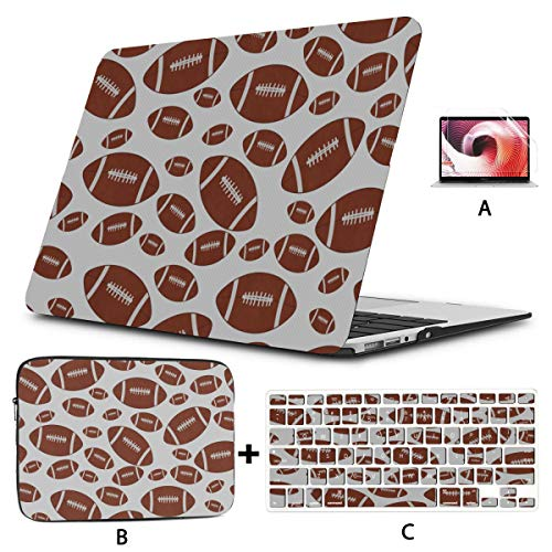 Mac Book Pro Accessories Colorful American Football Macbook A1466 Case Hard Shell Mac Air 11'/13' Pro 13'/15'/16' With Notebook Sleeve Bag For Macbook 2008-2020 Version