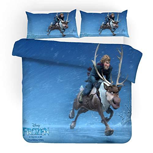 SMNVCKJ Ropa de cama infantil de Frozen Anna y Elsa Olaf Kristoff, funda nórdica con impresión digital 3D, microfibra, con funda de almohada, para niños y niñas, con cremallera (10,220 × 240 cm)