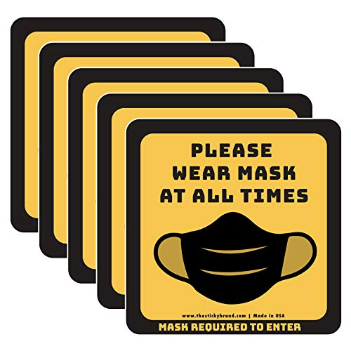 Sticky Brand Face Mask Required Sign Stickers – Wear Your Mask Sign – Wall, Window or Glass Door Sign – Covid Sticker Face Mask Signs for Businesses - Square 6' x 6', Yellow/Black, 5 Sticker Pack