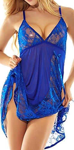 Women's Lace Babydoll Lingerie Set(2XL,Blue)