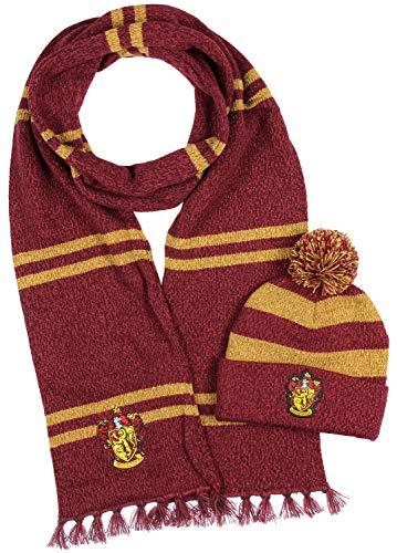 Harry Potter Hogwarts Häuser Gryffindor Schal stricken & Pom Beanie (Gryffindor)