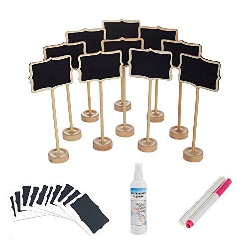 officematters Mini Chalkboard with Stand for Message Board Signs, Rectangle, Pack of 10