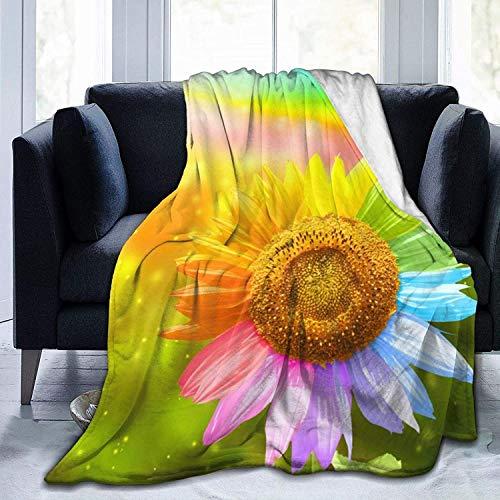 Manta de Tiro Rainbow Sunflower Ultra Suave de Microfibra Manta de Tiro Super Suave y acogedora Manta de Cama para Cama Sofá Sofá Sala de Estar Playa
