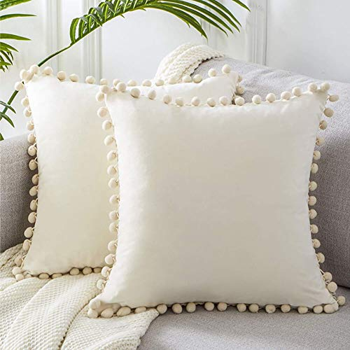 DACRIS 2PCS Decorative Throw Pillow Covers with Cute Pom-poms Soft Particles Velvet Cushion Covers 18X18 for Couch Sofa Bedroom Car Decorative Pillows for Living Room (Cream White, 18x18)