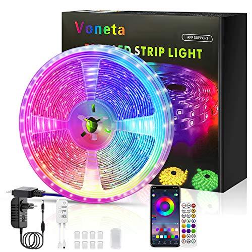 Tiras LED 10M, Voneta Tira de Luces LED Iluminación 5050 RGB, Control de APP y Remoto Control, Sincronizar con Música, Temporización, Utilizada para TV, Habitacion, Cocina y Fiestas