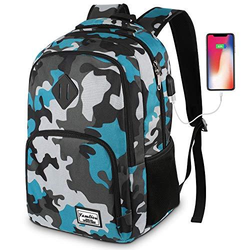 Mochila Portatil 15.6 Pulgadas Mochila Hombre con Puerto de Carga USB,Mochilas Escolares Juveniles (15.6 Pulgada, GJB6-camouflage Blue)
