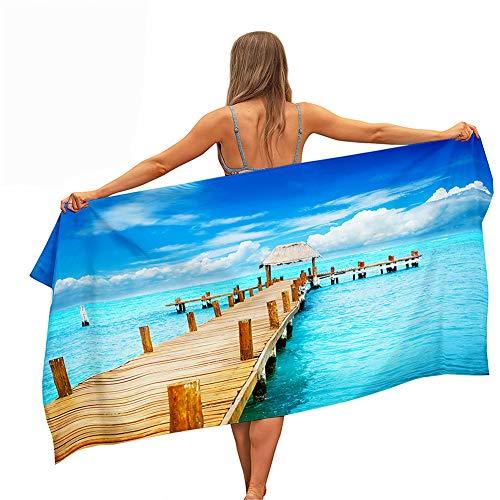 Toalla de Playa Grande Rectángulo, Chickwin Microfibra Absorbente Toalla Manta de Verano para Piscina Playa Viaje Camping, Compacto, Resistente a la Arena (Puente Azul,70x150cm)