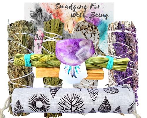 Smudging Kit - SAGE Variety 8 Gifts, Sage Incense Sticks Sampler Smudge Kit: Lavender Yerba Santa Blue Sage Stick, White & Black Sage, Cedar, Sweet Grass, Palo Santo, Healing Crystal: Bonus Bag!